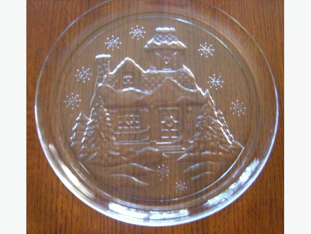Large glass winter christmas plates west shore langford