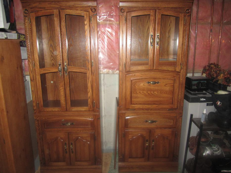 Reduced Solid Oak Three Piece Wall Unit North Regina Regina