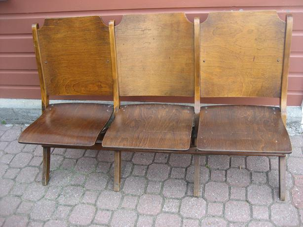 Vintage 3 Seat Wooden Folding Choir Church Chairs Theater Seats Central Ottaw