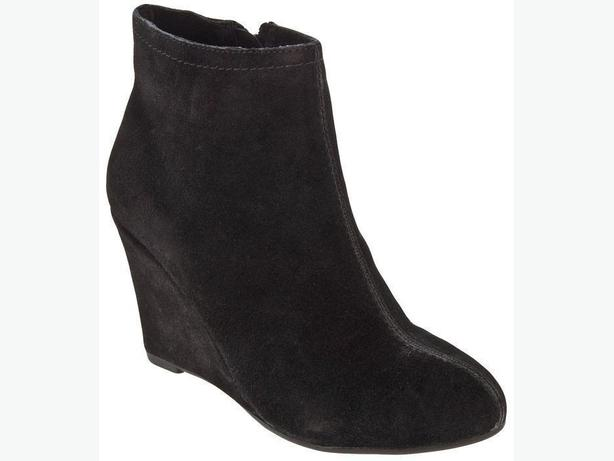 laundry black suede leather ankle boots