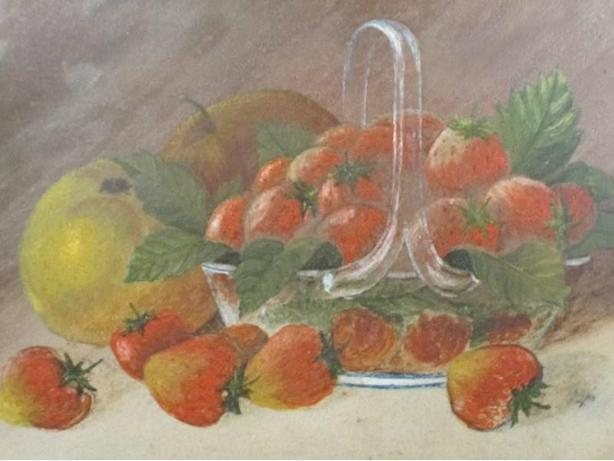 Framed oil painting on panel, unsigned. - Strawberry bowl. - Fruit Study.