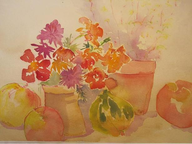 Double sided watercolor on paper. - Unsigned, - Floral study and Landscape.