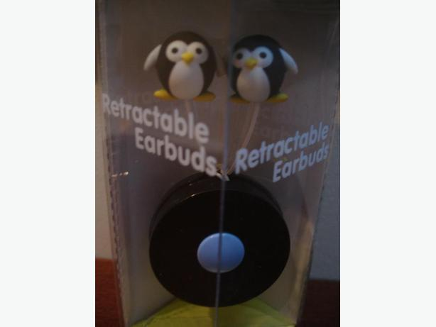 BrandNewVeryCute Penguinn Retractable Earbuds -ExcellentSoundsNOMoreTanglesWires