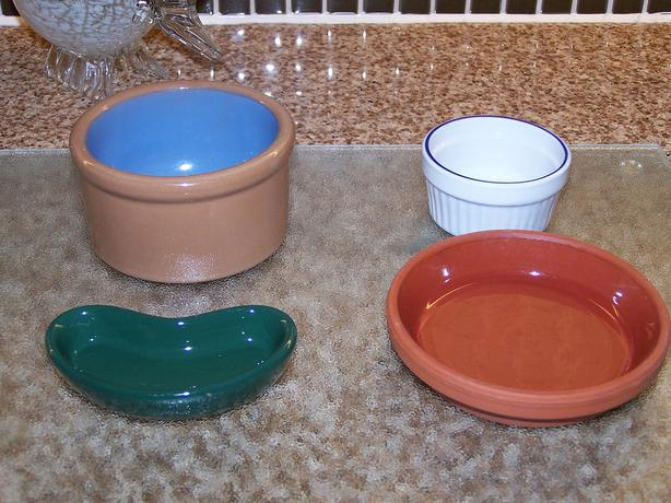 Small pet bowls / dishes & large scoop