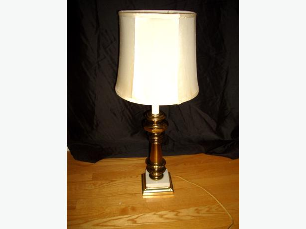 Vintage Brass Amp Marble Table Lamp Central Ottawa Inside
