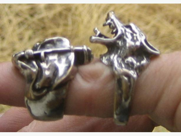 Wolf and Grim Reaper silver rings