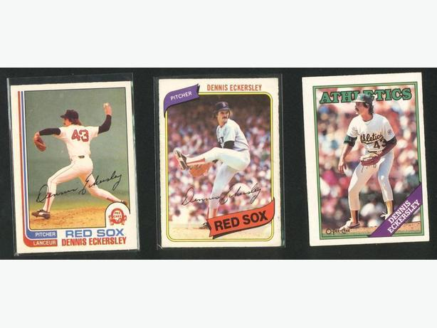 Three Dennis Eckersley Cards Boston Red Sox