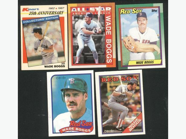 Five Wade Boggs Cards Boston Red Sox