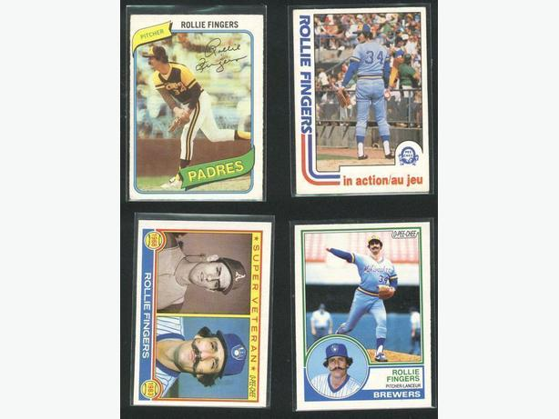 Four Rollie Fingers Cards Padres Athletics Brewers