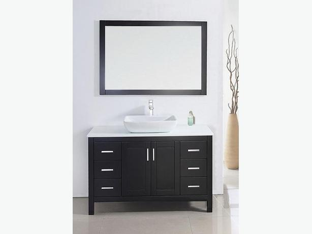 "48"" Solid Wood Bathroom Vanity with Mirror and Faucet"