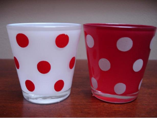 BrandNewSet Of 2CuteModernRetro Red/White Polkadot Tealight Candle Glass Holder