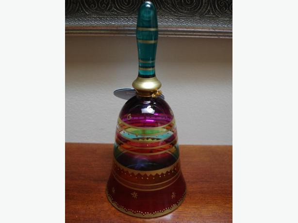 Like New Beautiful Hand Crafted & Painted Decorative Glass Bell From Pier 1