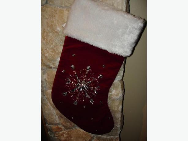 Brand New Beautiful X'Mas Stocking With Hand Sewn Bead Decoration