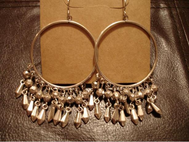 Like New Beautiful Hand Crafed Silver Loop Earrings