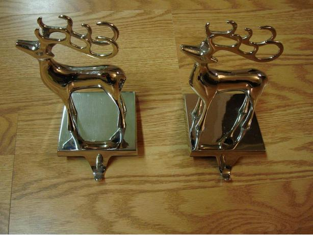 Set of 2 Beautiful Silver Reindeer Stocking Holders Heavy - $180 both