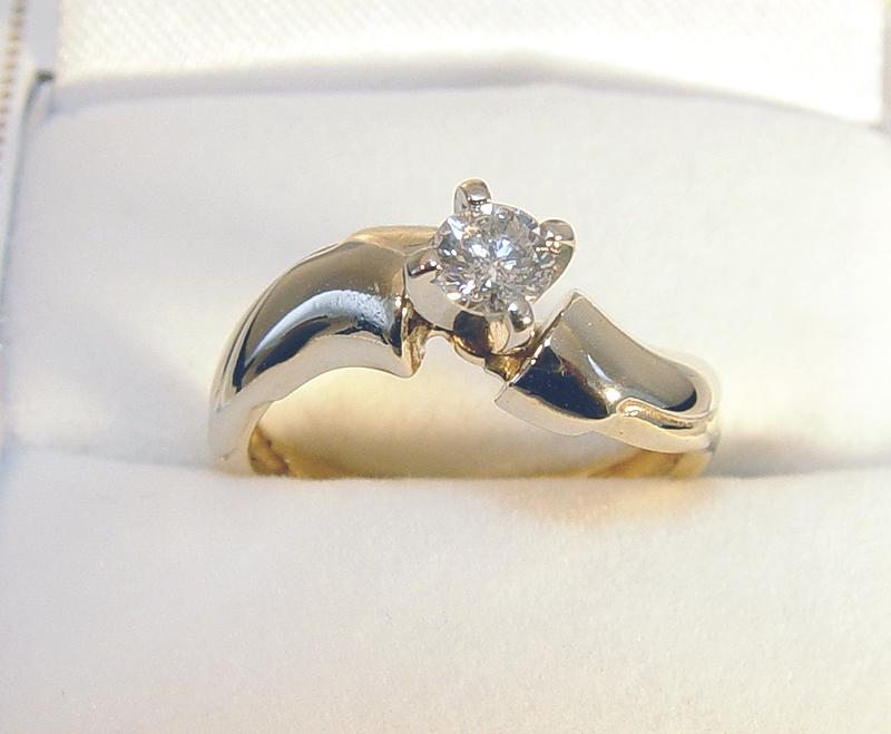 14k 2 toned gold 0 37ct rb engagement ring 165090