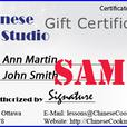 Instant Gift Certificates for Hands-on Asian Cooking Classes