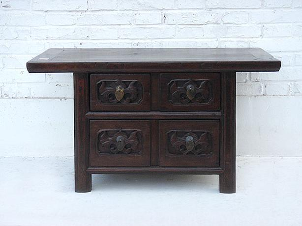 Clearance Sale --- Chinese Antique Carved Low Table / TV Stand