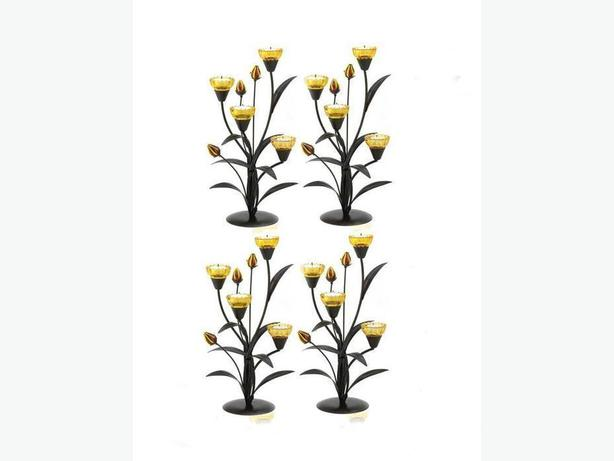 Tiger Lily Candleholder Centerpieces Set of 4 Brand New