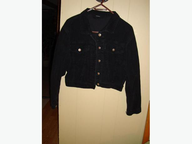 Like New Black Cordoroy Coat Size Small Medium - $3