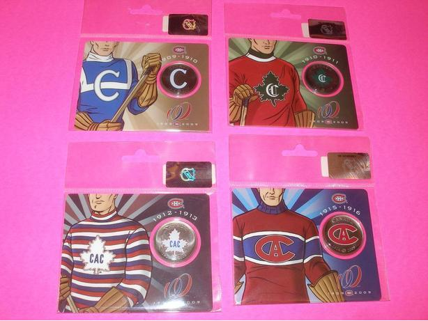 set of 4 Montreal Canadiens 50 cent colored coins