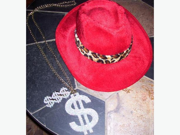 Bling bling red fedora hat and ring bling necklace for Red hat bling jewelry