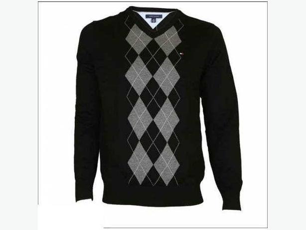 Tommy Hilfiger V Neck Knit Sweater - Black