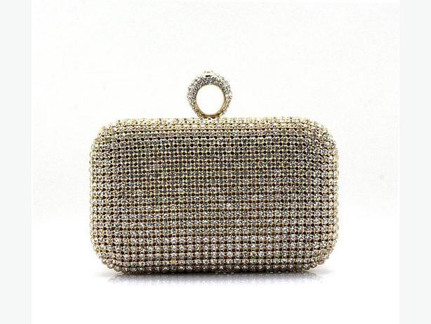Gold Rhinestone Evening Clutch Ring Purse Bag Handbag