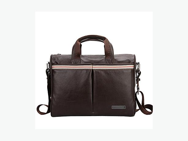 Leather Tote Messenger Bag Briefcase - Brown