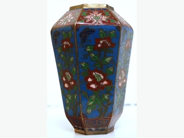 Chinese Cloisonne Enamel Hexagonal Vase with Flowers