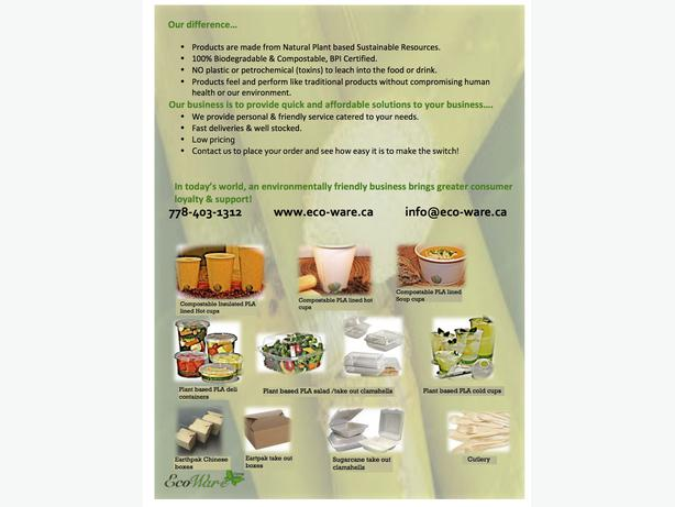 Earthfriendly, compostable and biodegradable take out containers  and solutions.