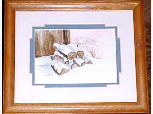 LOG PILE WATERCOLOR