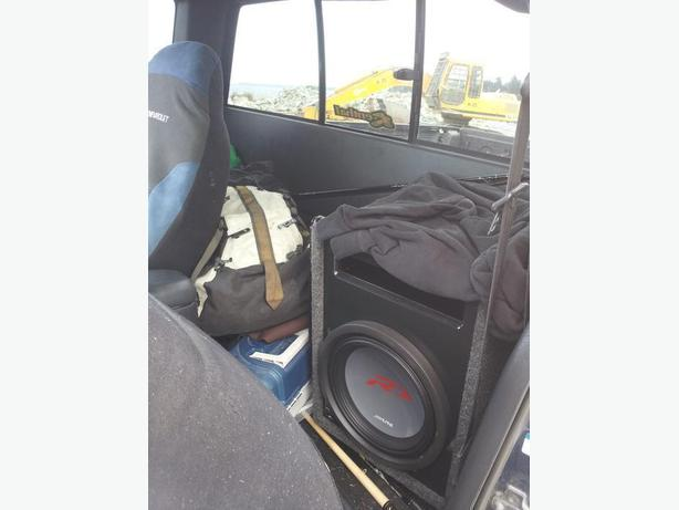 "12"" Alpine Type-R Sub, Ported carpeted box, Amp attached."