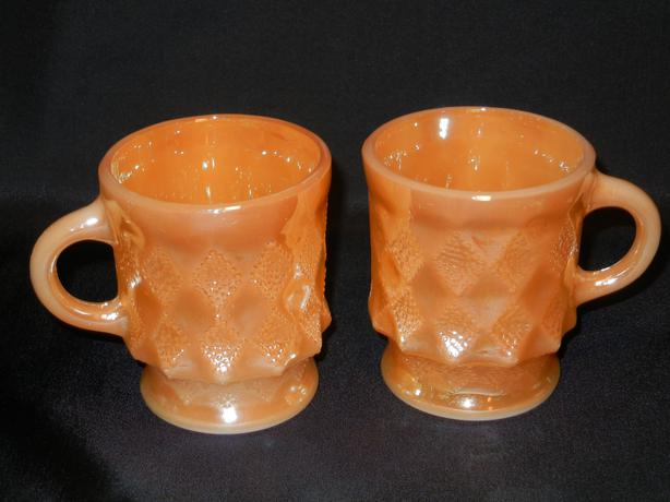 Fire-King Peach Lustre Kimberly Mugs