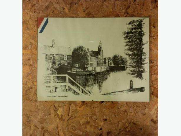 Etching of Rotterdam, Holland in glass frame