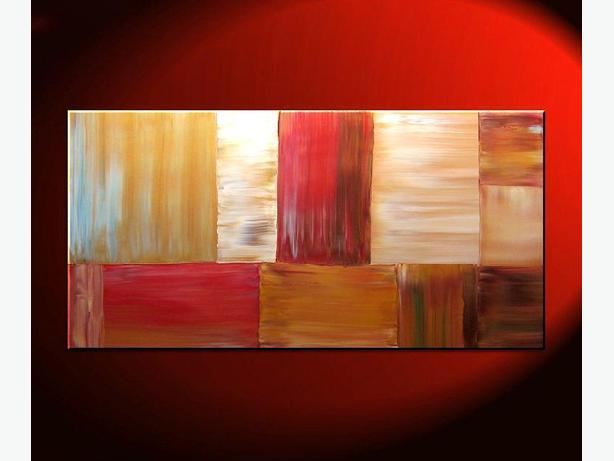 Large Modern Abstract Art Warm Colors Browns, Red, Caramel and Soft Greens 48x24