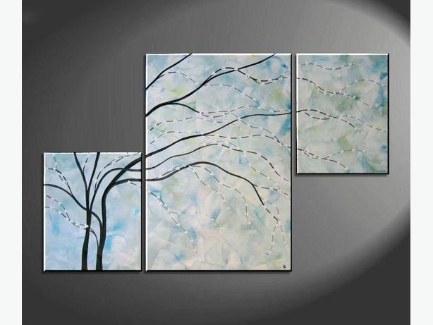 Turquoise Painting Large Wall Art Cherry Blossom Modern Abstract Original 56x36