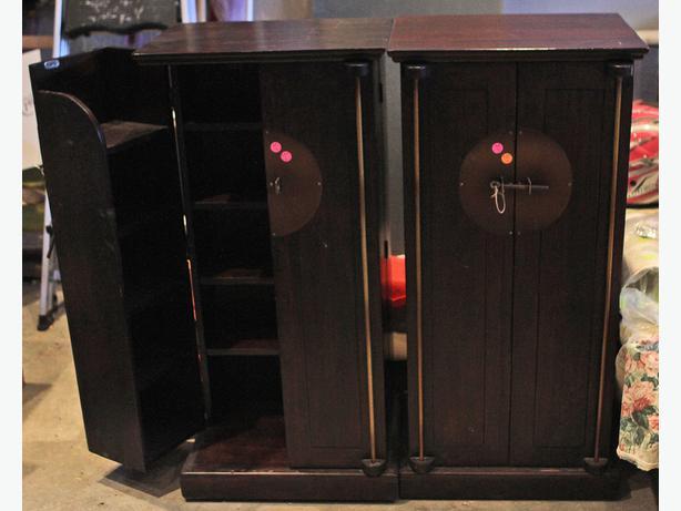 Set Of 2 Pier 1 Shanghai Wooden End Tables With Cd Dvd Blu Ray Storage Central Regina Regina
