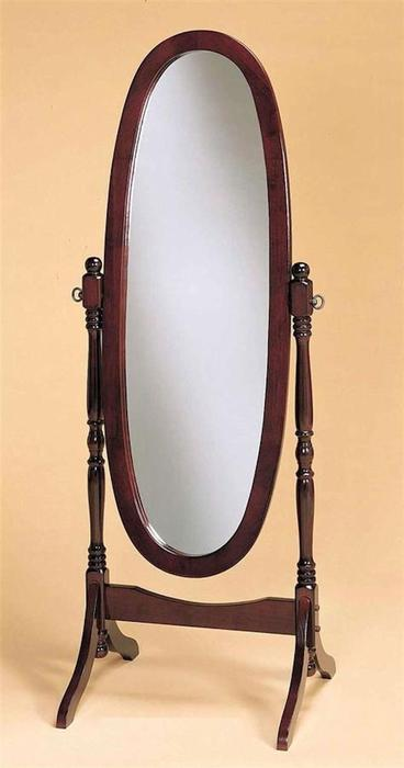 Wooden cheval floor oval mirror cherry central ottawa for Vintage floor length mirror