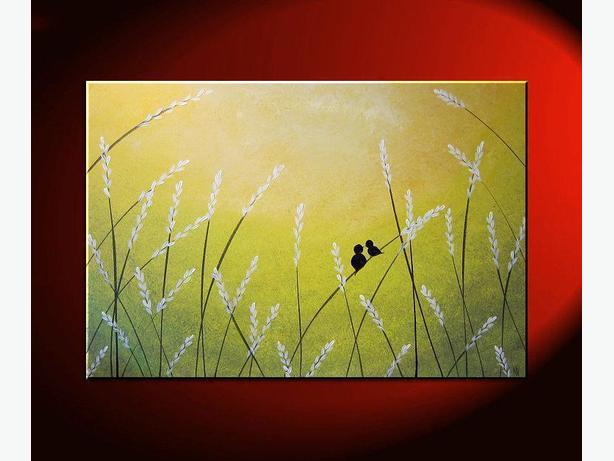 Original Painting Love birds in Pussy Willows Lime Green Wall Art 36x24