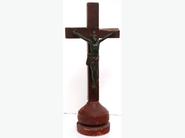 PRICE REDUCED Painted Antique Wood Cross with Bronze Jesus