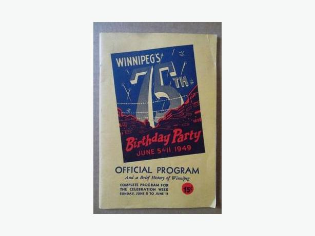 1949 City of Winnipeg 75th Birthday Party program