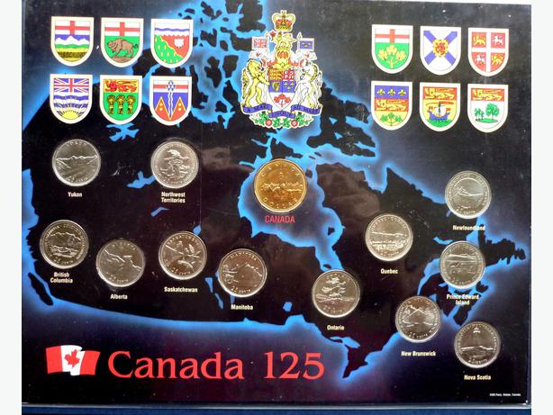 Cardboard map of Canada 125 coins in plastic envelope