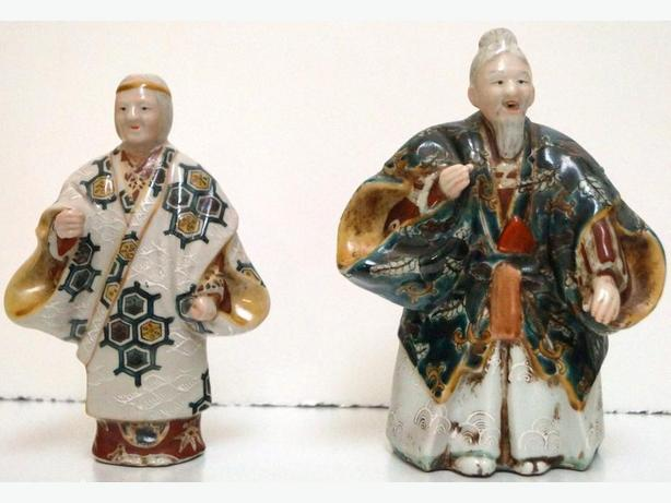 PRICE REDUCED Chinese Pair Colored Porcelain Old Figure of Man and Women
