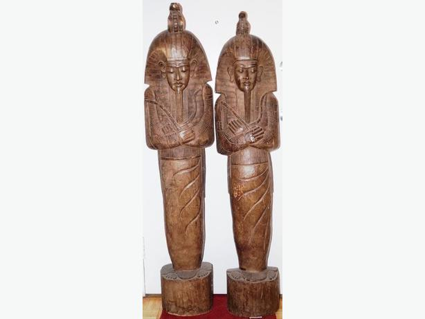 PRICE REDUCED Tall Antique Pharaoh Wood Carving 1925-1929