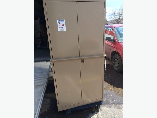 "Storage Cabinets, from 42"" tall to 6' tall, 2 doors, all metal."