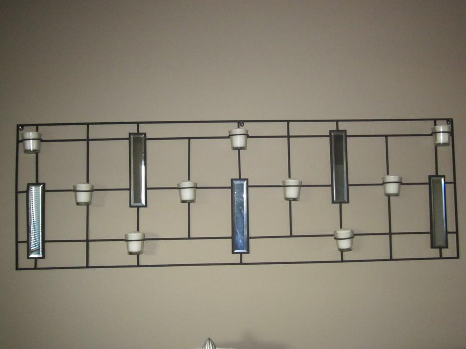 Black Metal Wall Hanging With Candles And Mirrors Saanich