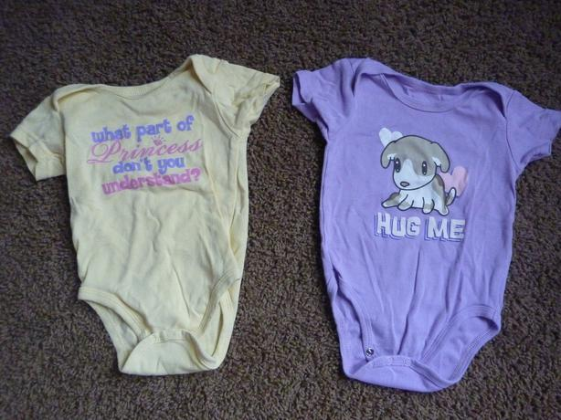 Yellow & Purple Onesies - Size 6-9 Months