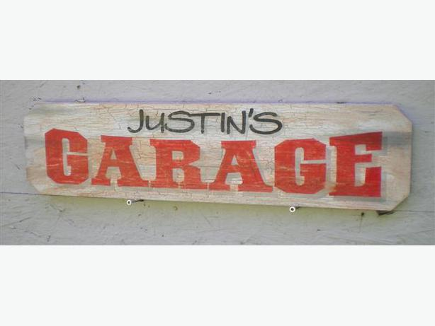 Personalized vintage retro style garage signs outside for Vintage garage signs uk