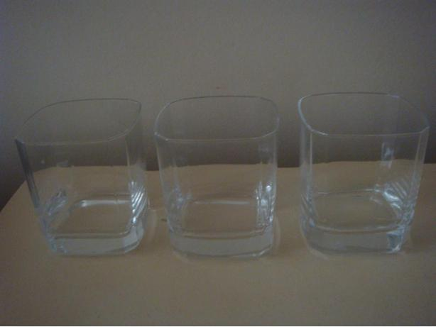 3 Square Glass Bar Glasses